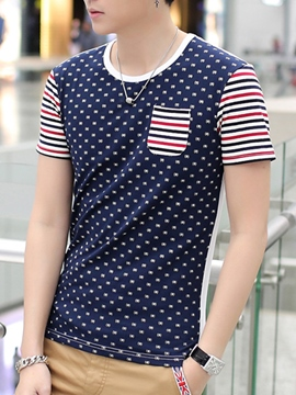 Ericdress Polka Dots Stripe Patchwork Casual Men's T-Shirt