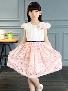 Ericdress Belt Texture Hollow Pleated Girls Dresses
