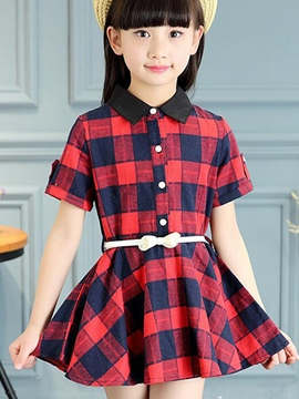 Ericdress Color Block Plaid Short Sleeve Girls Dress
