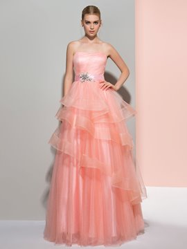 Ericdress A-Line Strapless Beading Tiered Long Prom Dress
