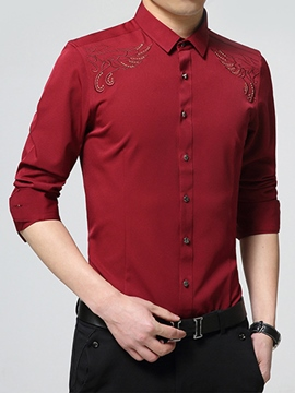 Ericdress Vogue Embroidery Pattern Long Sleeve Slim Men's Shirt