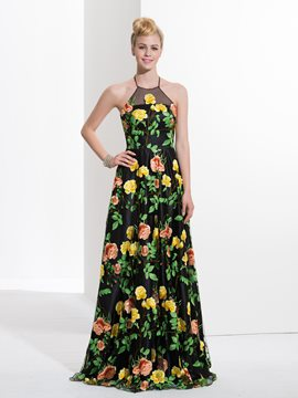 Ericdress A-Line Halter Printed Sweep Train Prom Dress