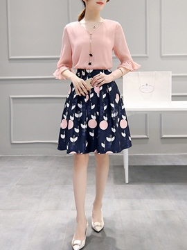 Ericdress Simple A-Line Print Skirt Suit