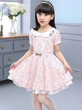 Ericdress Short Sleeve Polka Dots Girls Dress