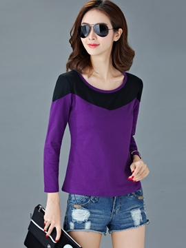 Ericdress Color Block Slim T-Shirt