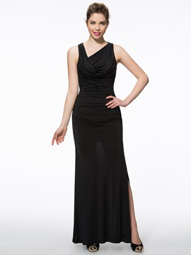 Eridress Sheath V-Neck Ruched Split-Front Evening Dress
