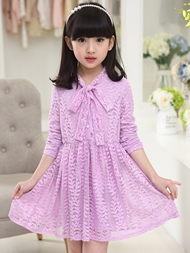 Ericdress Solid Color Long Sleeve Girls Dress
