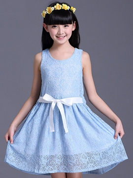 Ericdress Solid Color GirlsSleeveless Dress