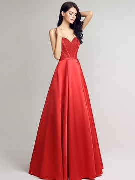 Ericdress A-Line Sweetheart Beading Long Lace-Up Evening Dress