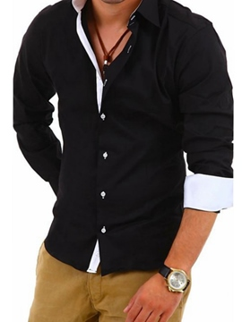 Ericdress Patchwork Casual Long Sleeve Men's Shirt