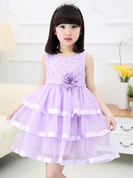 Ericdress Layered Dress Mesh Belt Sleeveless Girls Dress