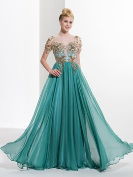 Ericdress Short Sleeves Scoop A-Line Appliques Button Sequins Floor-Length Prom Dress