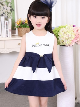 Ericdress Letter Print Patchwork Belt Sleeveless Girls Dress
