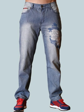 Ericdress Plus Size Embroidery Denim Casual Men's Pants