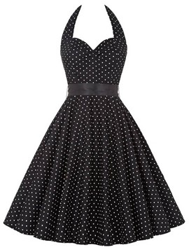 Ericdress Halter Polka Dots Skater Casual Dress