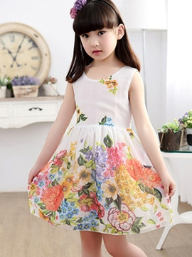 Ericdress Floral Print Sleeveless Lace-Up Girls Dress