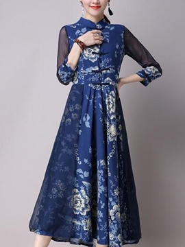 Ericdress Summer Chinese Ethic Print Maxi Dress
