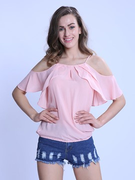 Ericdress Solid Color Off-Shoulder Pleated Chiffon Blouse
