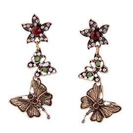 Ericdress Retro Flower Butterfly Earrings