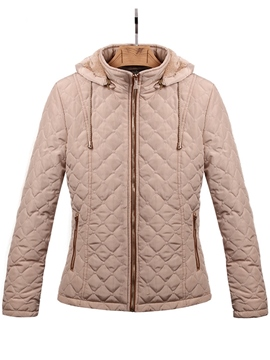 Ericdress Solid Color Hooded Jacket