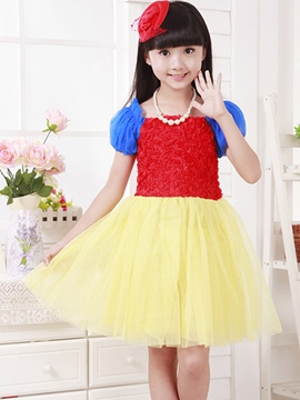 Ericdress Color Block Pleated Short Sleeve Girls Dress