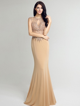 Ericdress Mermaid Jewel Cap Sleeves Beaded Crystal Long Evening Dress