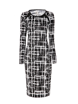 Ericdress Plaid Print Long Sleeve Sheath Dress