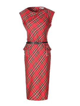 Ericdress Plaid Sleeveness Belt Sheath Dress