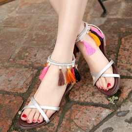 Ericdress Ethnic Tassels Flat Sandals