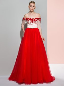 Ericdress Off-the-Shoulder A-Line Half Sleeves Beading Sweep Train Evening Dress