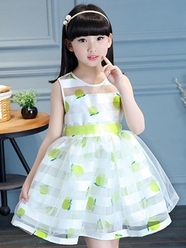Ericdress Print Striped Belt Sleeveless Girls Dresses