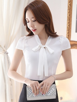 Ericdress Slim Solid Color Lace-Up Blouse