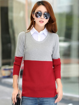 Ericdress Color Block Loose Casual Knitwear