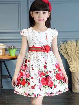 Ericdress Print Floral Appliques Bowknot Girls Dresses