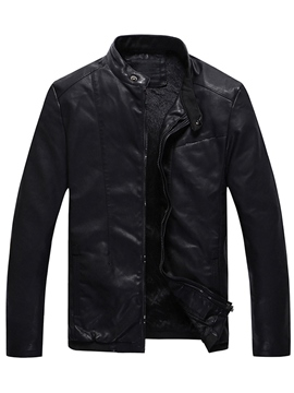 Ericdress PU Flocking Zip Vogue Men's Jacket
