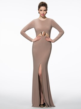 Ericdress Scoop Sheath Long Sleeves Split-Front Sweep Train Evening Dress