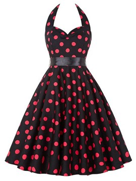 Ericdress Vintage Halter Polka Dots Casual Dress