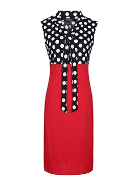 Ericdress Patchwork Lace-Up Sleeveless Sheath Dress