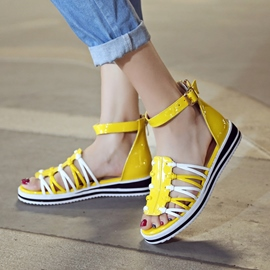Ericdress Bright PU Strappy Flat Sandals