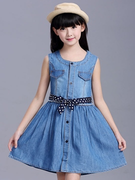 Ericdress Sleeveless Denim Girls Dress