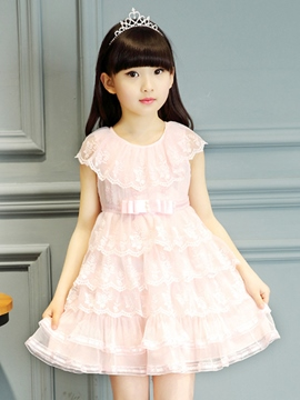 Ericdress Solid Color Lace Pleated Girls Dress