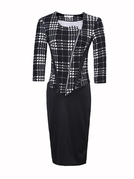 Ericdress Plaid Patchwork Oblique Zipper Sheath Dress