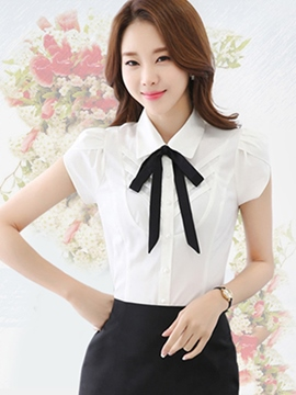 Ericdress Bow Tie Front Slim Blouse
