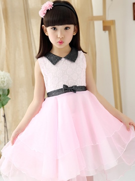 Ericdress Lace Falbala Bowknot Squre Collar Girls Dresses