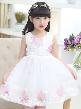 Ericdress Print Mesh Bowknot Girls Dresses