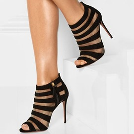 Ericdress Sexy Black Cut Out Peep Toe Stiletto Sandals