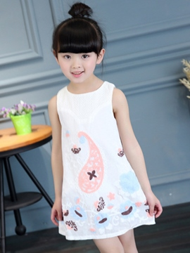 Ericdress Embroidery Hollow Sleeveless Girls Dress