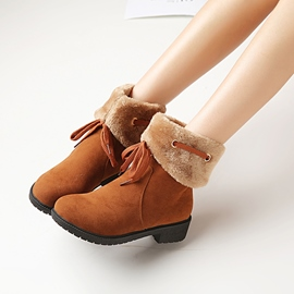 Ericdress Suede Round Toe Snow Boots