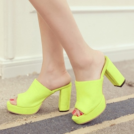 Ericdress Suede Candy Color Chunky Mules Shoes
