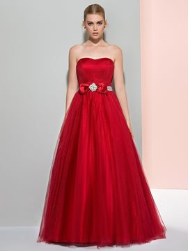 Ericdress A-Line Strapless Beaded Ruffles Logn Prom Dress